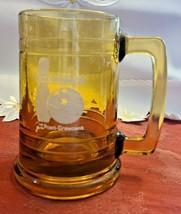 """VINTAGE 1978 BOWL-O-RAMA GLASS MUG - THE POST CRESCENT - 5 1/4"""" x 5"""" x 3 3/4"""""""