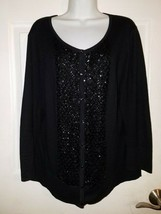 TALBOTS Black Embellished Long Sleeve silk/cotton/cashmere blend Cardiga... - $20.10