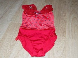 Child Size Small Dansco Red Velour Sequined Dance Leotard Heart Organza ... - $24.00