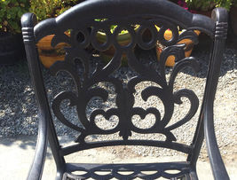 """11pc outdoor patio dining set Nassau chairs cast aluminum 46"""" x 120"""" table image 5"""