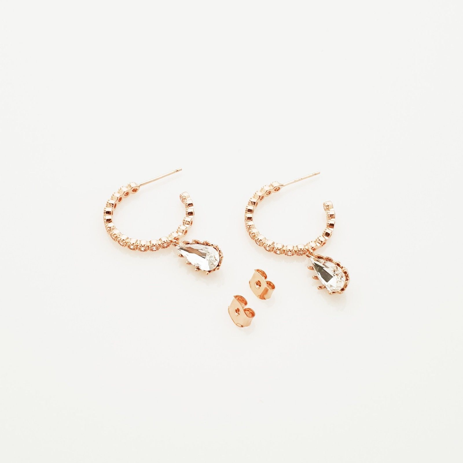 Hoop Water Drop Made With Swarovski Crystal Dangle Earrings Rose Gold Tone Pink image 6