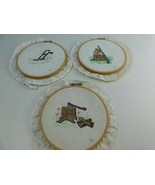 Cross Stitch Embroidery Hoop Lot Wood Frame Plow,Stump,Ax,Saw, Country D... - $17.81
