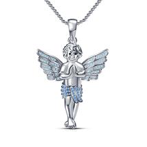 Mens & Ladies Silver 14k White Gold Finish Lab Diamond Baby Angel Pendant Chain - $68.00