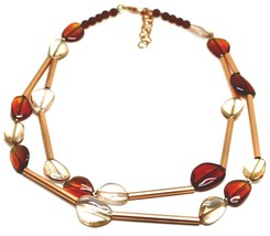 ROSE NECKLACE TWO WIRES AMBER PINK ROUNDED DROPS OF MURANO GLASS TUBE ALTERNATE image 1