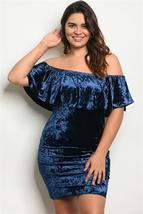 Blue Plus Size Short Sleeve Off Shoulder Ruffled Velvet Dress - $8.99