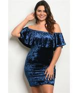 Blue Plus Size Short Sleeve Off Shoulder Ruffled Velvet Dress - €6,11 EUR