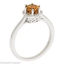 CITRINE HALO RING BRILLIANT ROUND 6mm 925 STERLING SILVER .70 CARATS 6-P... - £76.05 GBP