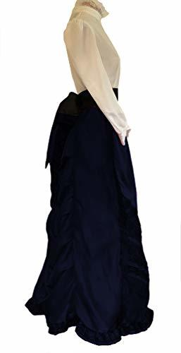 Edwardian Historical Cosplay Costume Skirt Blouse and Belt Set (L/XL, Dark Blue)