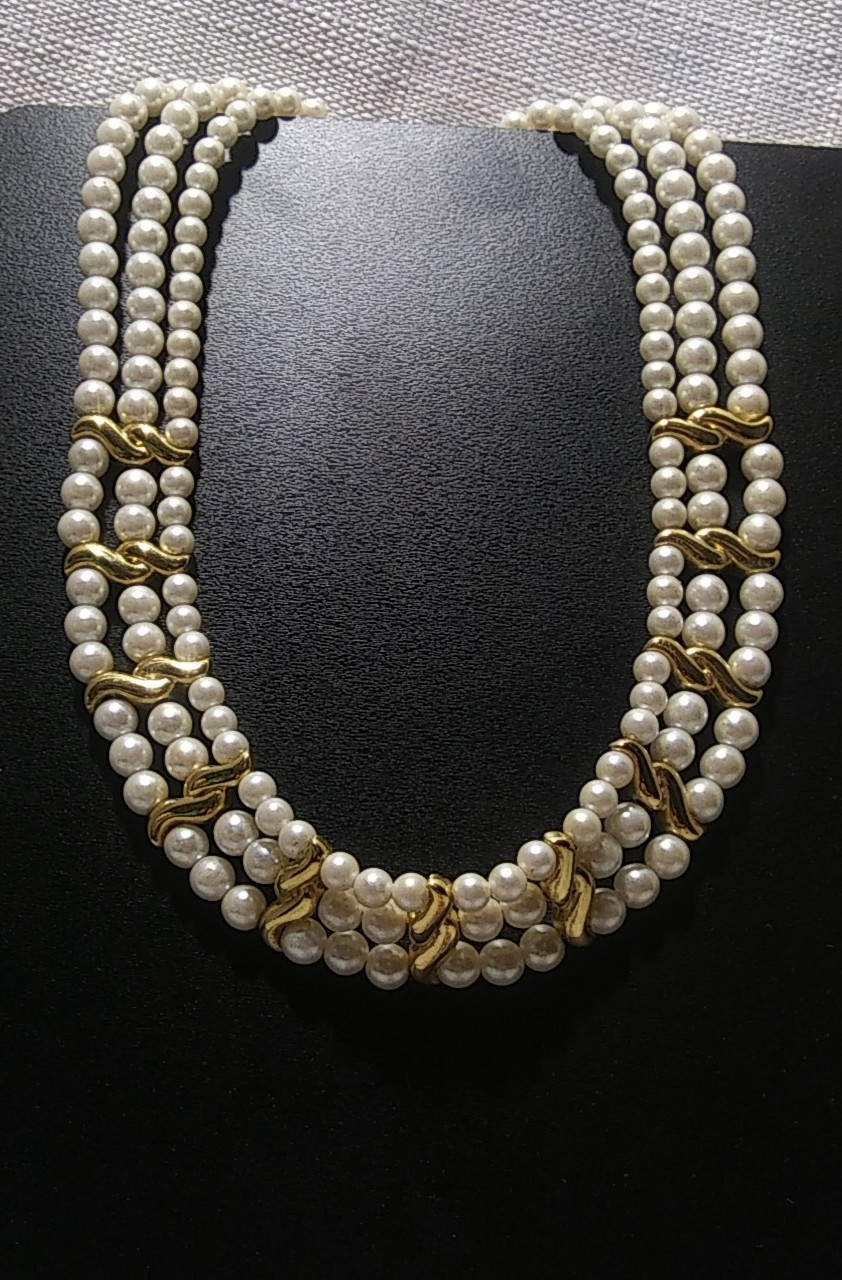 "Primary image for Napier Multi-Strand Gold Tone  15.75"" Choker Necklace"