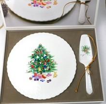 Mikasa Bone China CHRISTMAS SPIRIT Cake Plate & Server Set in Box B2098 ... - $56.47