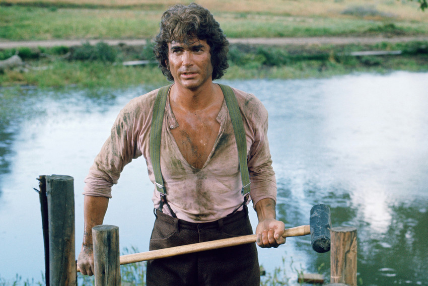Primary image for Michael Landon in Little House on the Prairie holding hammer 1975 Richest Man 24