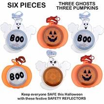 6 HALLOWEEN SAFETY REFLECTOR GHOST PUMPKIN TRICK OR TREAT NECKLACE COSTU... - $22.27