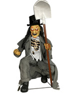 Crouching Grave Digger Prop Animated Lifesize Cemetery Graveyard Scene H... - £169.81 GBP