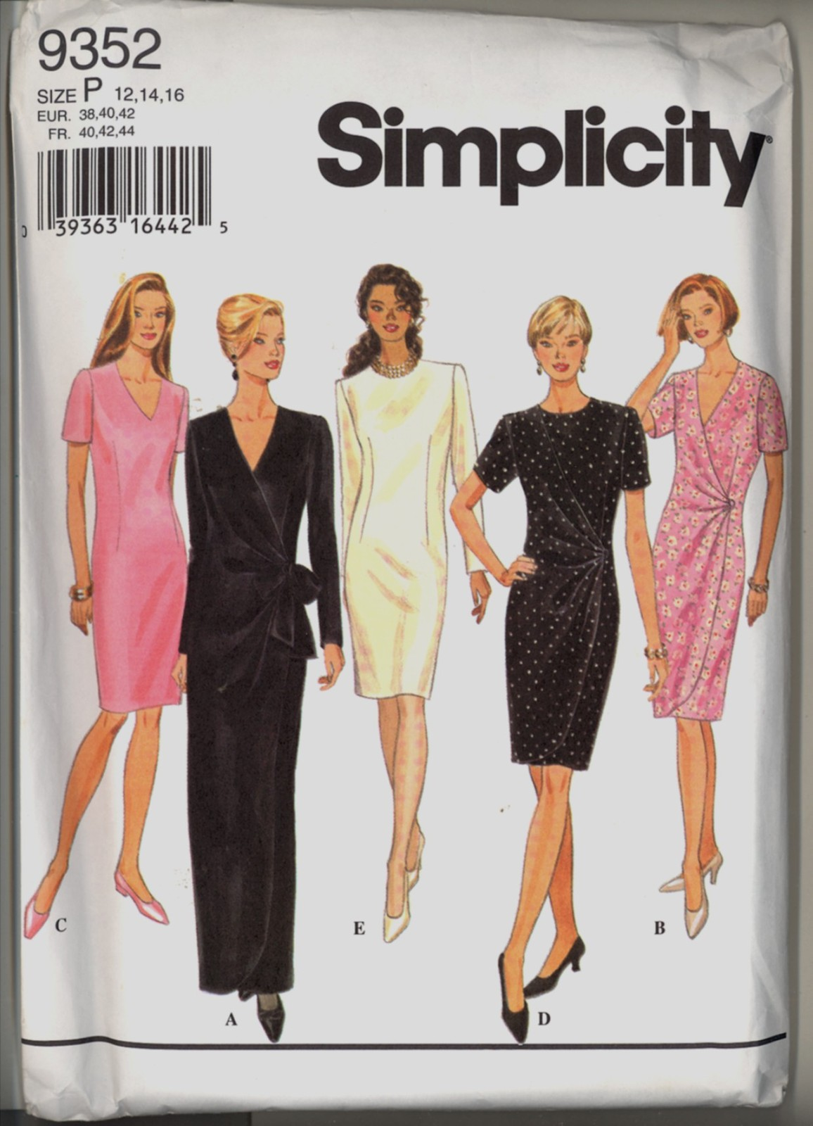 New Size 12 14 16 Bust 34 36 38 Front Drape Dress Simplicity 9352 Sewing Pattern