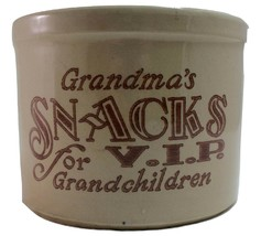 Grandma's Stoneware Crock Snack Jar for VIP Grandchildren No Lid - $14.85