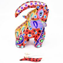 "Handmade Alebrijes Oaxacan Painted Carved Wood Folk Art Elephant 6"" Figure image 6"