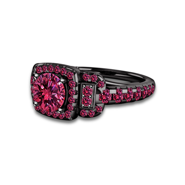 Primary image for Round Cut Pink Sapphire 14k Black Gold Plated 925 Sterling Silver Wedding Ring