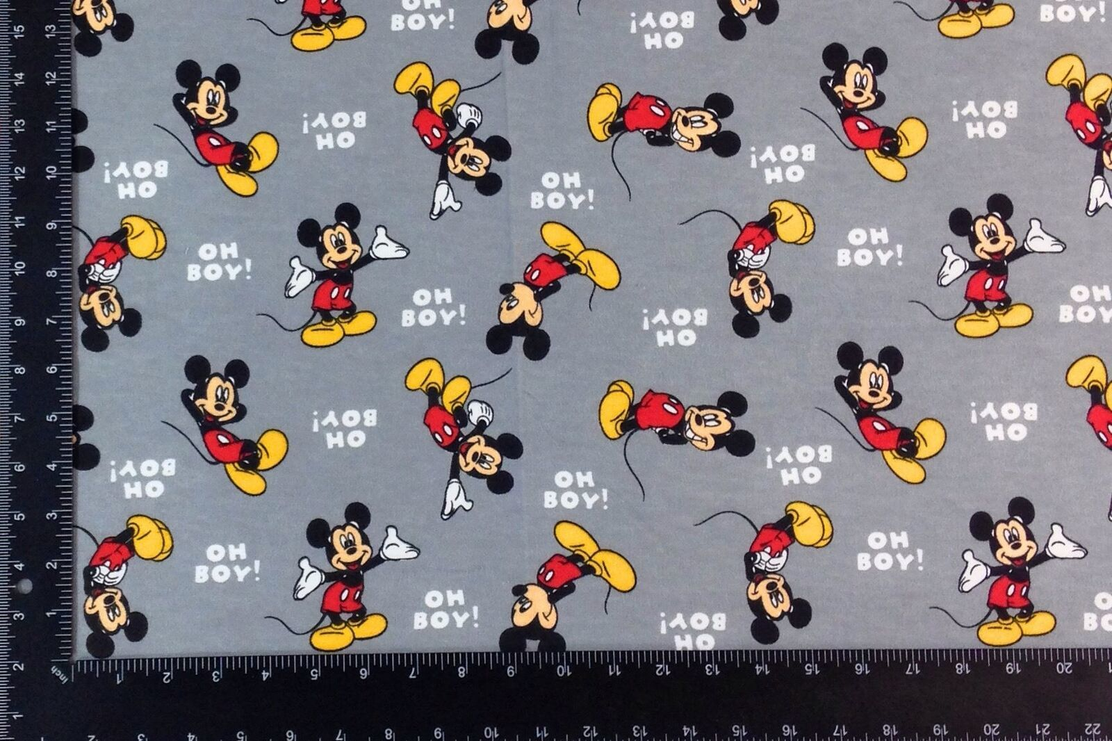 Mickey Mouse Grey Winceyette 100% Brushed Cotton Fabric Material 3 Sizes