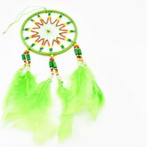 """Handcrafted 11"""" Dreamcatcher Green Yellow Red Plastic & Wood Beads Feathers  image 2"""