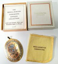 Vtg Reed & Barton Damascene Oval Pendant Bird Flower Signed w Box Paperw... - $35.00