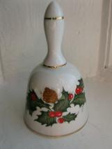 Vintage CHRISTMAS Holly Berries Pine Cones Porcelain Bell Made in Japan - $11.14