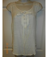 Cute ivory Lace rayon mesh spring Blouse Top by Mine size S SALE 0.99 - $0.98