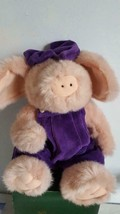 "Collectible 11"" Plush Boyds Bears Primrose Pink Pig, Purple Velvet Overalls, - $9.89"