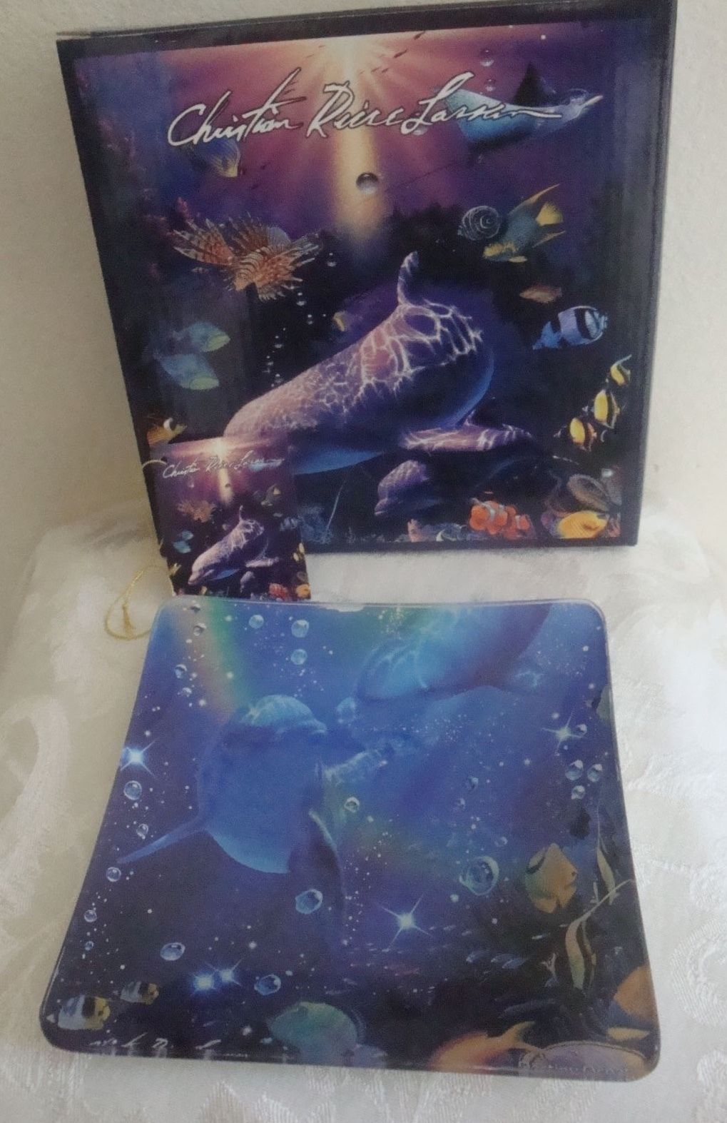 Sealife Dolphins Fish Decorative Plate Glass Dish Christian Riese Lassen New