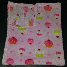 "Baby Starters Pink Cupcakes Baby Blanket Lovey Green Orange Soft 30"" x 40"" - $24.70"