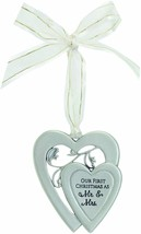 Our First Christmas as Mr & Mrs Christmas Ornament New in Gift Box Hearts  - $16.82