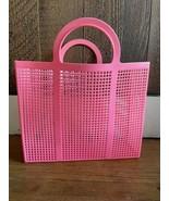 Rare Vintage Large 60s Pink Lattice Plastic Beach Bag Tote Market Basket... - $32.73