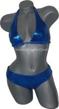 New FABUCCI metallic blue reversible swimsuit bikini 2 S sexy shiny pageant 2pc - $87.29