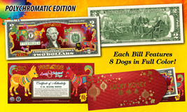 USA $2 Bill 2018 Chinese New YEAR OF Dog Polychromatic Red Envelop Certifed - $19.62