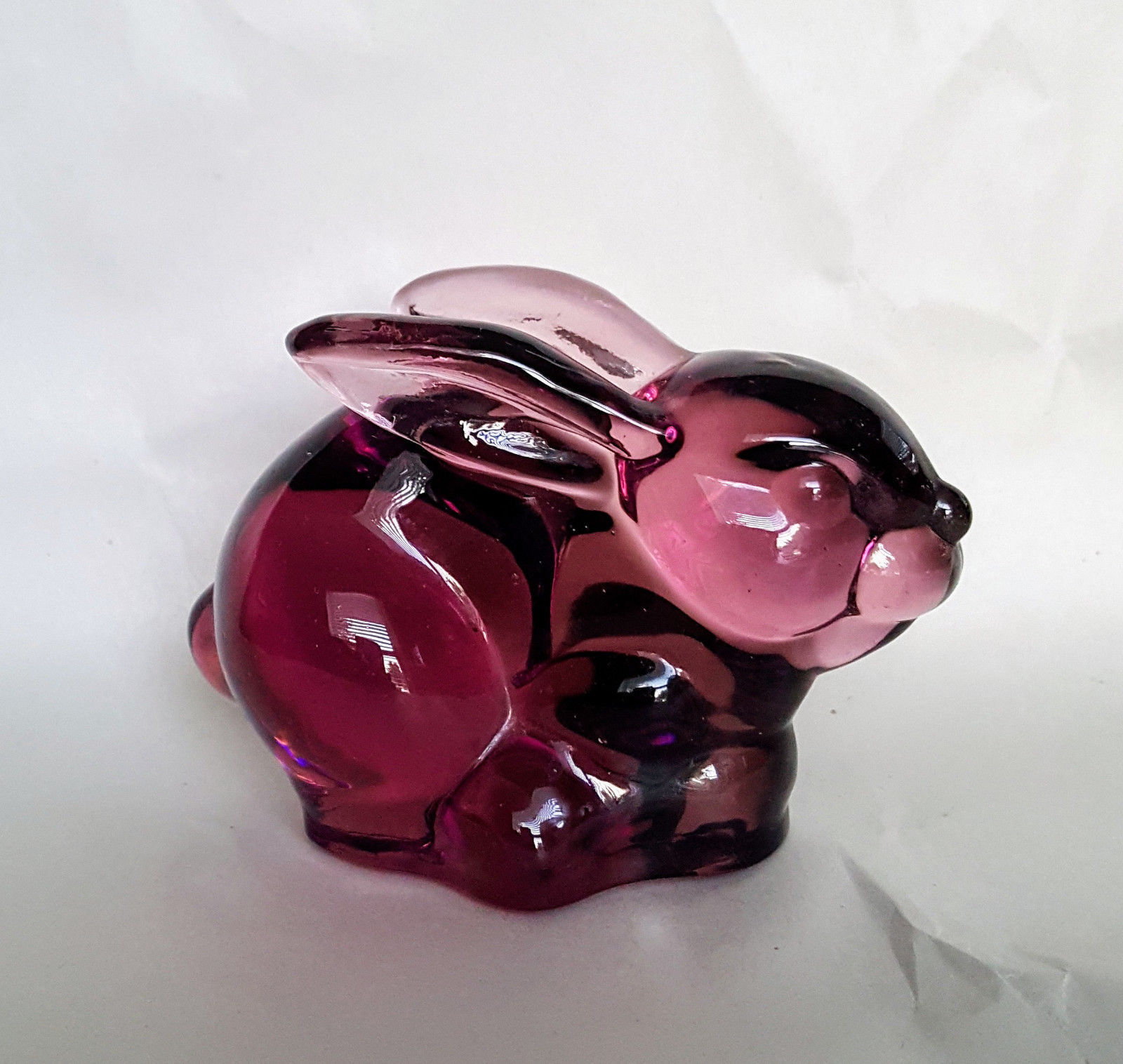 Silvestri Amethyst Glass Bunny Rabbit Sitting Figurine Animal Paperweight