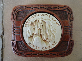 Vintage 1940s Syroco wood Cigarette Box Mammoth Onyx Cave Horse Cave Ken... - $24.99