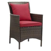 Conduit Outdoor Patio Wicker Rattan Dining Armchair Brown Red EEI-2801-B... - $250.25