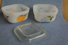 2 Vintage Fire King Gay Fad Fruit Refrigerator Dishes - $9.65