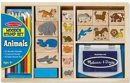 Melissa & Doug Wooden Stamp Set Animals 24-Piece Blue Ink wooden Storage Box New - $24.65
