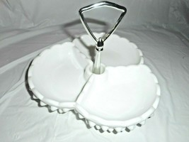 Fenton White Milk Glass Divided Hobnail Candy Tray Nut Tidbit Tray Chip ... - $29.69