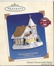 Hallmark Magic Ornament 2003 FIELDSTONE CHURCH Candlelight Services #6 I... - $17.30