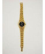 Gruen Diamond Gold Nugget Band Black Face Precision Quartz Japan Movemen... - $49.99