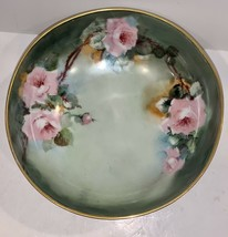 EXQUISITE VINTAGE T&V LIMOGES FRANCE HAND PAINTED ROSES WITH GOLD 3-FOOT... - $111.37