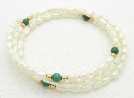 VTG FRESHWATER PEARLS & Malachite Gemstone Adjustable Expandable Bracelet - $19.80