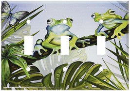 Art Plates - Green Frogs Switch Plate - Triple Toggle - $18.92