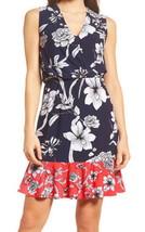 Eliza J V Neck Cross Front Dress Petite 2 PS Red White Blue Stretch Surplice NWT - $63.79