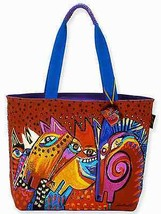 "NWT Laurel Burch Large Red & Blue Laughing Mares Horse Tote 20"" x 15"" SH... - $45.85"