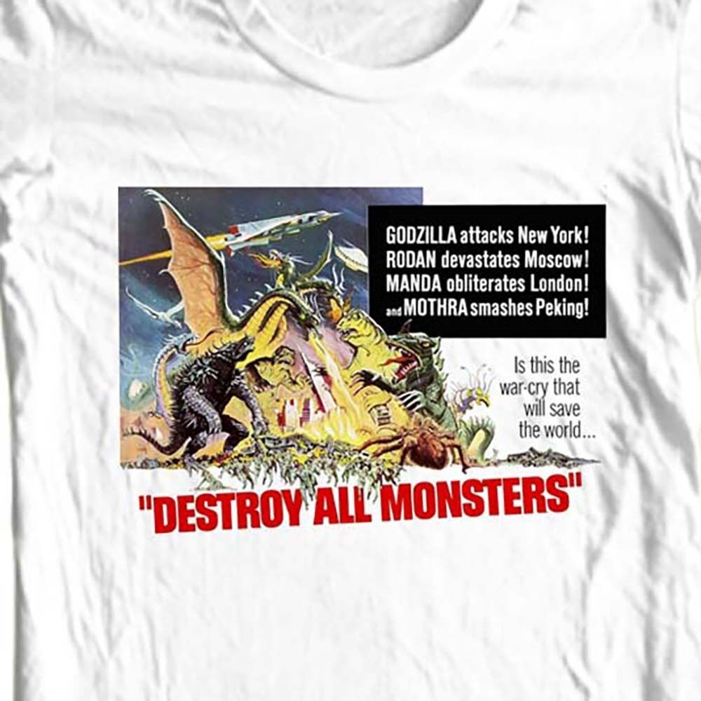 Destroy all monsters t-shirt vintage old Godzilla sci fi film free shipping