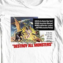 Destroy all monsters t-shirt vintage old Godzilla sci fi film free shipping image 1