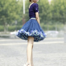 Women Above Knee Ruffle Layered Tulle Skirt Princess Plus Size Tiered Tutu Skirt image 7