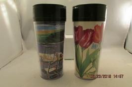 STARBUCKS THERMO SERV Travel Mug Tumbler signed R Burmidge & Tulips 1999 - $10.39